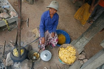Boiling out of the cocoons of silkworms Cambodia
