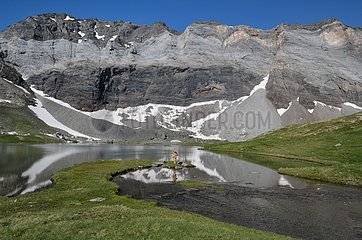 Glacial Lake and Walls of Barroude - Pyrenees France