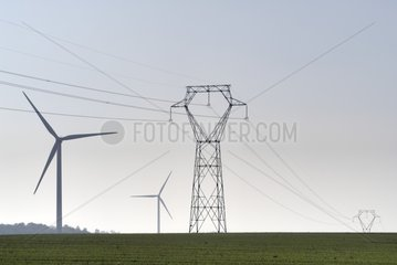 Windmills and high-tension lines at the Voie Sacrée France