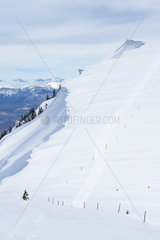 Peaks of the Lure mountain in winter  Alpes de Haute Provence  France