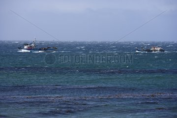 Pair of trawlers navigating in the Magellan Strait