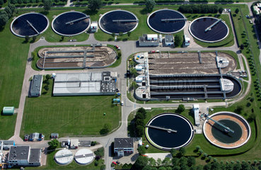 aerial view of a water treatment plant in Holland