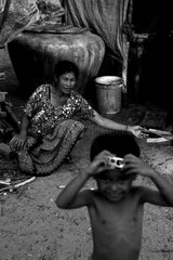 Woman and child in the village of Otress in Cambodia