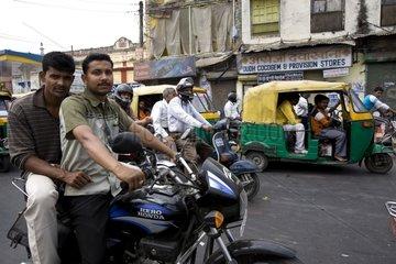 Moto in traffic in the city Uttar Pradesh India