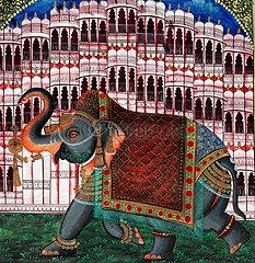 Fresco of a Elephant - Udaipur Rajasthan India
