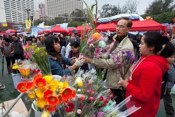 flower market during Chinese new year  Hongkong