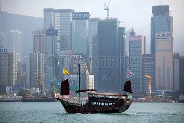 junk in front of Hongkong Island