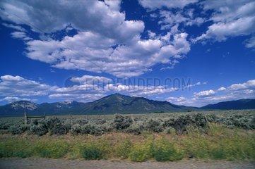 Landscape and mountainous desert of Santa Fe USA