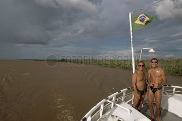 Passengers on a boat of transport on the Amazon Brazil