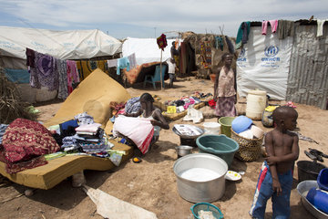 refugee camp at Mpoko airport  Bangui  Displaced christians have taken refuge in Mpoko airport  CAR
