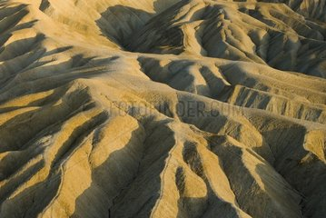 Detail of badlands geological formations in Death Valley NP