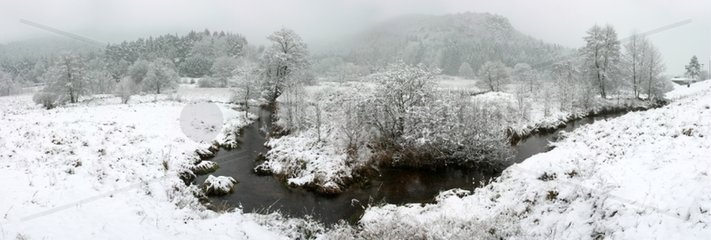 River and Vosgean valley under the snow France