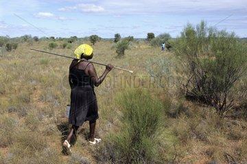 Aboriginal ladies hunting sand monitors in Australia