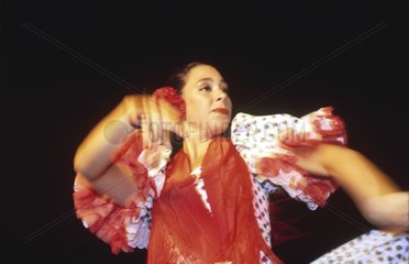 Séville  danseuse de flamenco en costume traditionnel