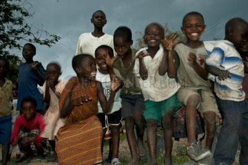 Children dancing in the village of Tungamalenga Tanzania