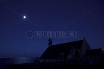 Full moon reflection on Saint They Chapel at Pointe du Van