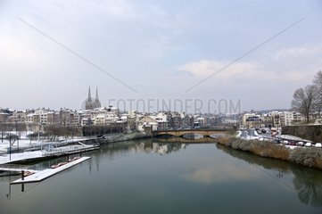 Nive river and Bayonne under snow Pays Basque France