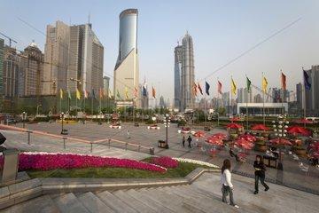 Esplanade of the Oriental Pearl Tower in Shanghai China