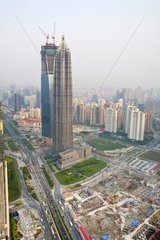 World Financial Tower under construction in Shanghai China