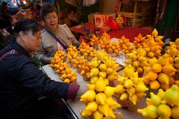 fruit and vegetable market in Hongkong  China