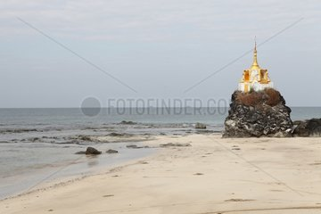 Small stupa at the seaside Beach Chaung Tha Burma