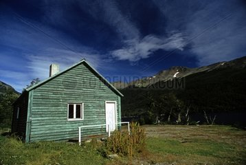 Wooden house painted in green Tierra del Fuego Argentina