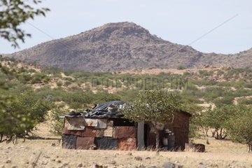 Metal sheets house in Damaraland in Namibia