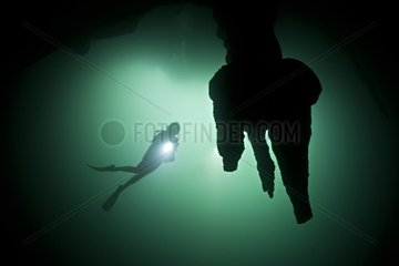 Diver and stalactites in the Cenote Angelita - Mexico