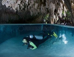Diver in the Cenote Pet Cemetery - Yucatan Mexico
