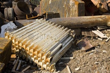 Old cast iron radiators in recycling center