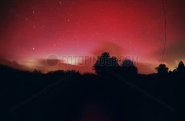 Red aurora over the Finistère France
