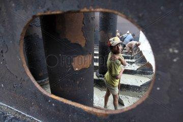 Child labor on a ship-breaking yard Bangladesh