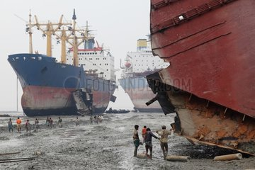 Workers on a ship-breaking yard Bangladesh