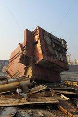 Guard on a ship-breaking yard Bangladesh