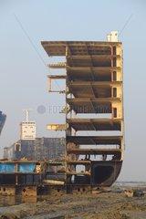 Skeleton of a ship on the demolition Bangladesh