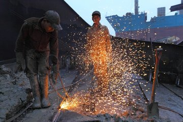 Workers on a ship-breaking yard in Bangladesh