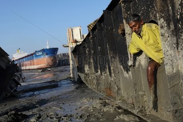 Worker on a ship breaking yards in Bangladesh