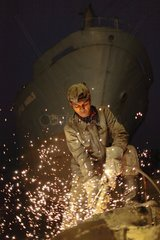 Cutter torch on a ship breaking yard Bangladesh