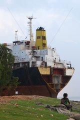 Ship during ship breaking in Bangladesh