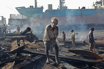 Construction workers of ship breaking in Bangladesh