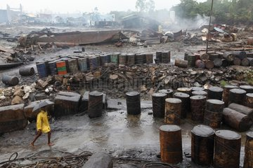 View of a ship breaking yard in Bangladesh