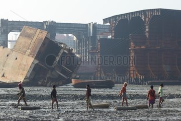Workers in a ship breaking yard in Bangladesh