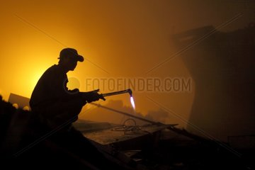 Cutter torch during a night tour of Bangladesh