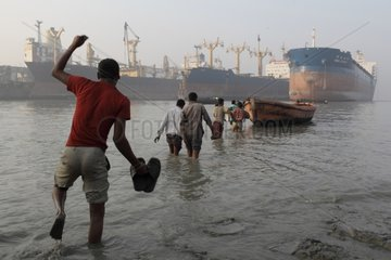 Workers joining the ship-breaking yard Bangladesh