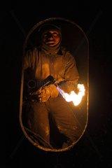 Cutter torch on a ship breaking yard Bangladesh