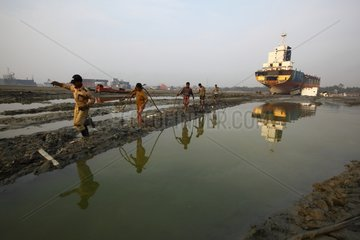 Workers on a ship breaking yard in Bangladesh