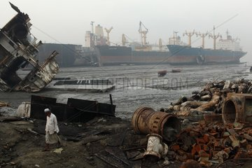 Guard on a ship-breaking yard in Bangladesh