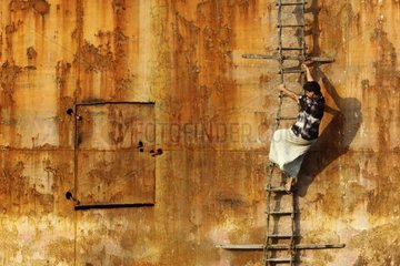 Worker on a construction site shipbreaking Bangladesh