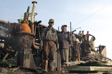 Workers on a construction site shipbreaking Bangladesh