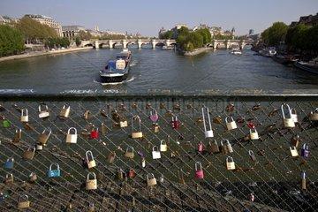 Locks of love on the Pont des Arts in Paris France